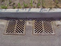 Two catch basins, or sewer grates next to a curb