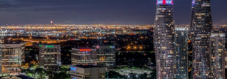 Night aerial view of Mississauga
