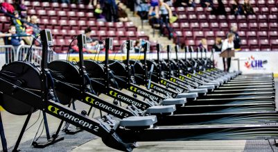 rowing machines lined up