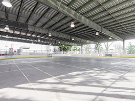 View of outdoor rink and cover in spring