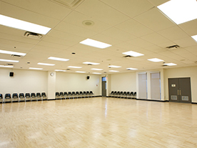 Interior of empty group fitness room