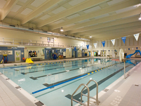 Interior of pool showing swim lanes