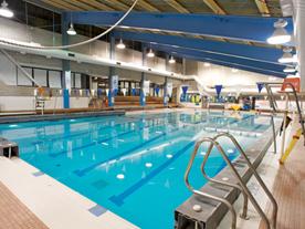 Interior of pool showing swim lanes