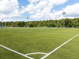 Baseball field with artificial turf